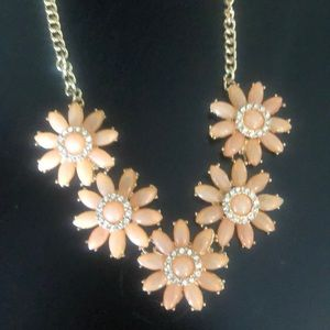 Peach and gold flower necklace